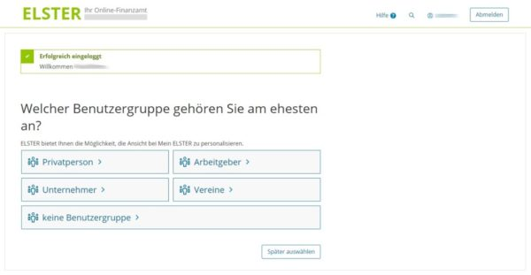 ELSTER Online Web-Oberfläche
