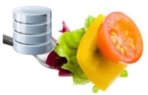 Gemüse zusammen mit einem Daten-Symbol auf einer Gabel