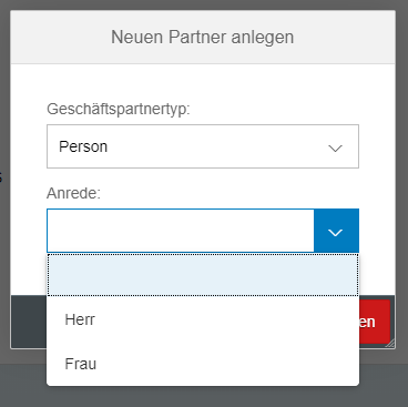SAP Fiori - Auswahl der Anrede