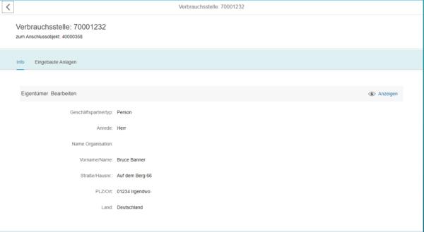 SAP Fiori - Detailansicht einer Verbrauchsstelle