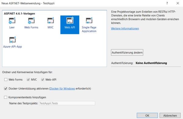 Erstellung einer Web-API in Visual Studio