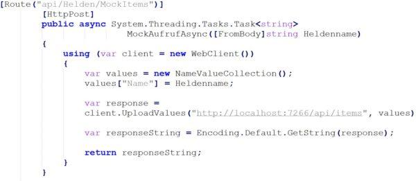 Ausschnitt Code: POST-Zugriff auf die API