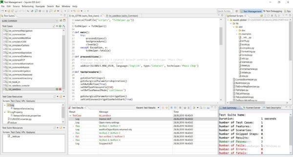 Ausschnitt Squish IDE basiert auf der Open-Source IDE Eclipse