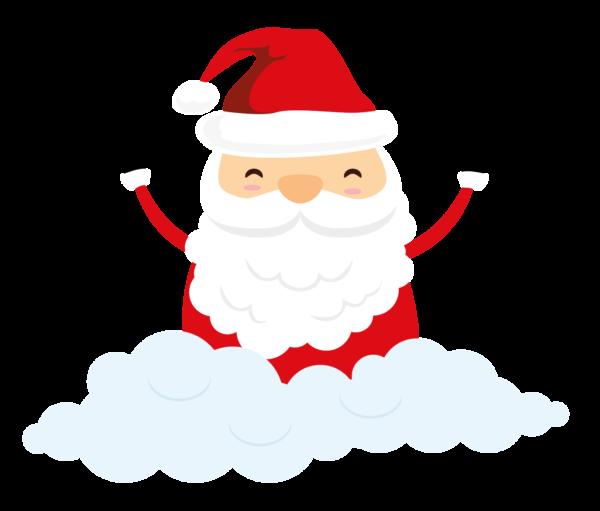 Ein fröhlicher Weihnachtsmann sitzt auf einer Wolke.
