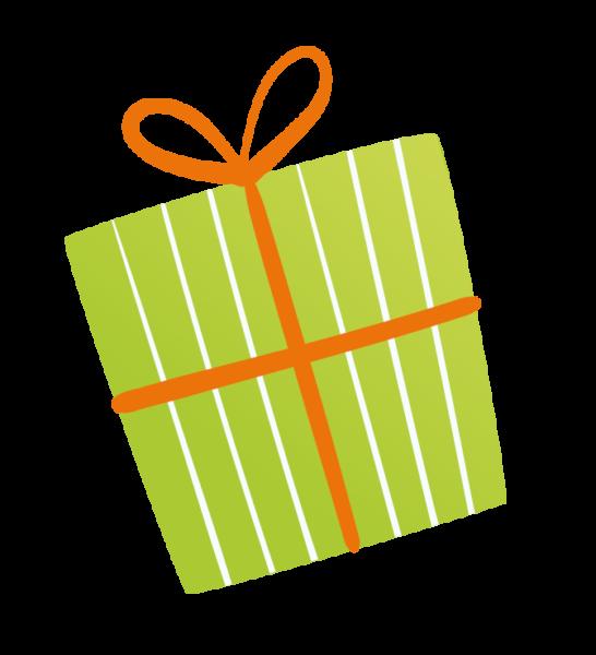 Grün-weiß-gestreiftes Geschenk mit roter Schleife