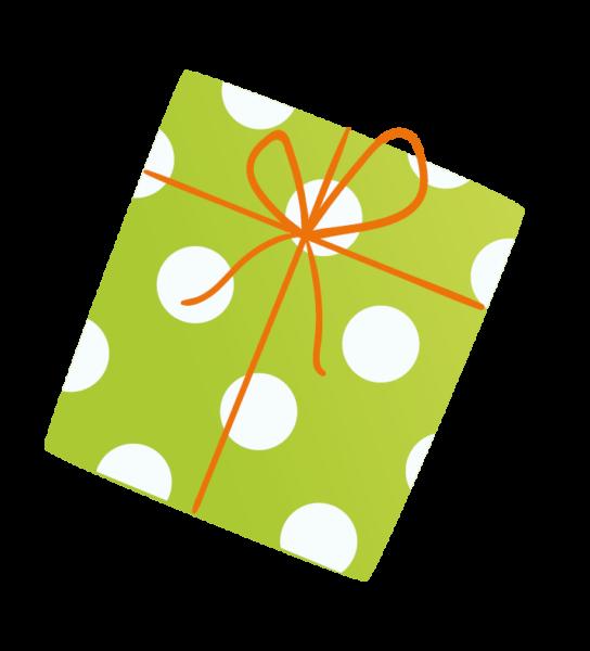 Grünes Geschenk mit weißen Punkten und roter Schleife