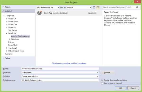 Screenshot Visual Studio Cordova-Projekt - Programmansicht
