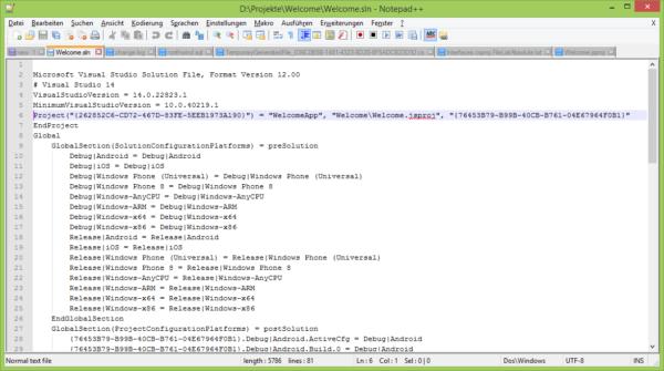 Screenshot Visual Studio Cordova-Projekt - Codeausschnitt