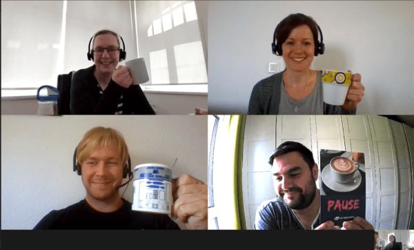 Wöchentlich stattfindende virtuelle Kaffeepause im Team