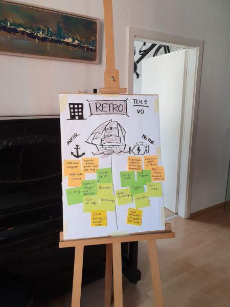 Team-Retro mit improvisiertem Whiteboard