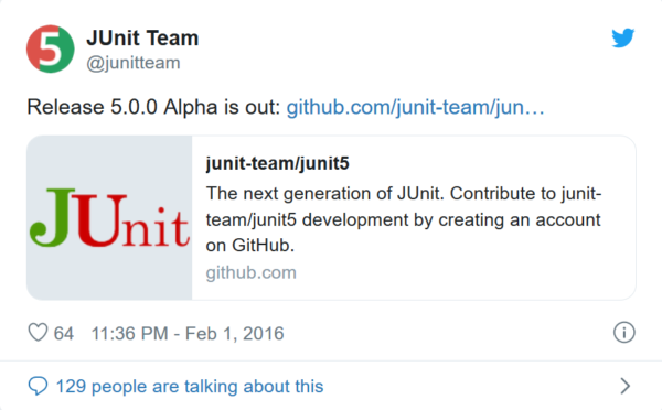 Screenshot Twitter News vom JUnit Team