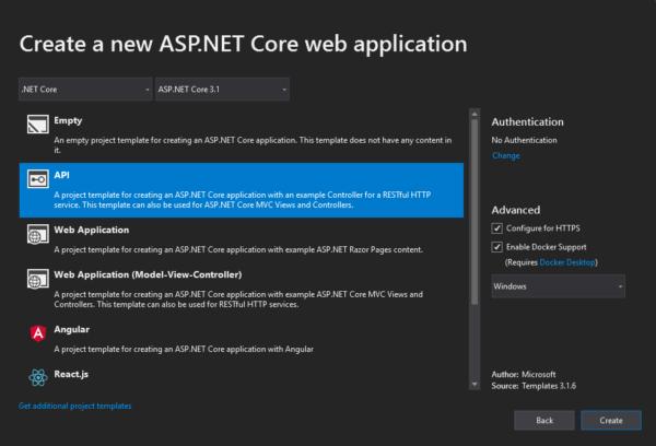 Visual Studio - creating API with docker