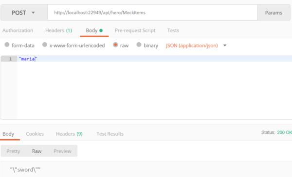 Screenshot Interface test with Postman