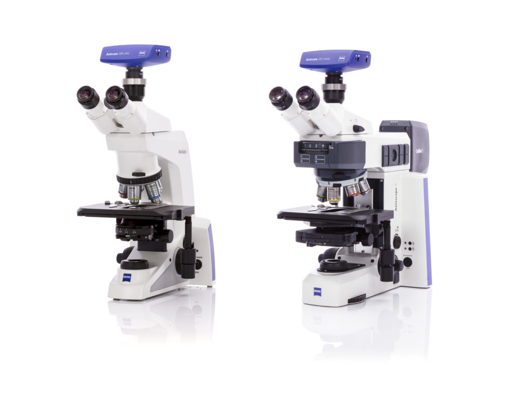 ZEISS Smart Microscopy is enabled by two new microscopes, ZEISS Axiolab 5 and ZEISS Axioscope 5, in combination with two new microscope cameras: ZEISS Axiocam 202 mono and ZEISS Axiocam 208 color.