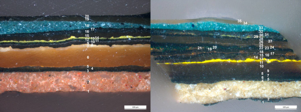 Transverse sections from the outer hoop of a wheel (left) and the outer carriage body (right). It is clear that the wheels and outer carriage body have been painted and gold-plated multiple times. Images at 200x magnification using differential interference contrast (DIC) kindly provided by S. Stanek of the scientific laboratory at the Kunsthistorisches Museum in Vienna.