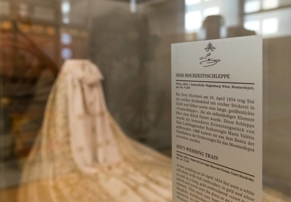 Sisi's wedding train is one of the few surviving items of the Empress's clothing.