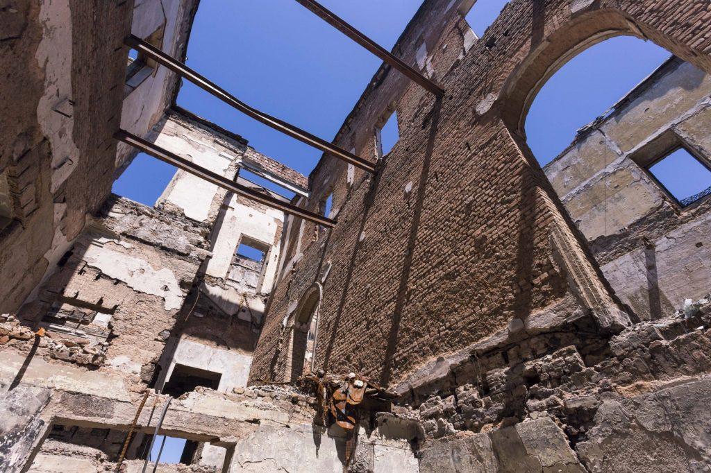 Interior damage after the fire at Musea Nacional