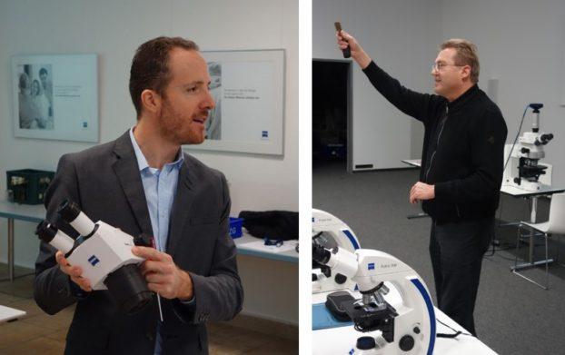 ZEISS Mitarbeiter führen die Schüler in die Geschichte & Funktionsweise der Mikroskopie ein
