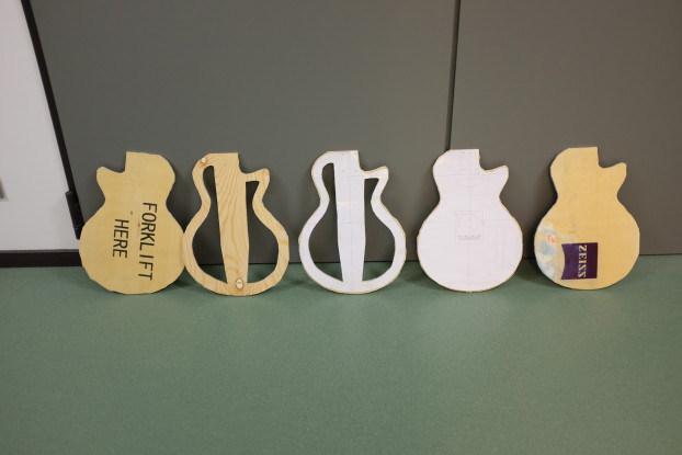 The 5 plies of cut-out wood that will form the ZEISScaster corpus
