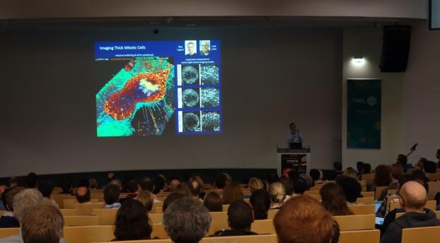 Eric Betzig presenting lattice light sheet microscopy imaging