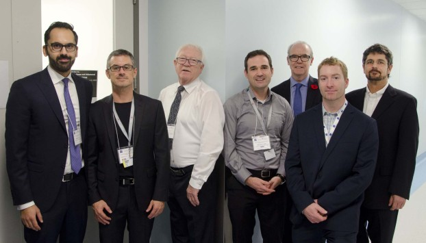 Abdel Barraj (General Manager ZEISS Canada), Dr Stephane Laporte Director (Molecular Imaging Core facility at the RI-MUHC & Professor and Director of Research, Division of Endocrinology and Metabolism , McGill University), Roger Charbonneau (Account Manager ZEISS), Dr Ian Bates (3D Imaging Specialist ZEISS), Dr Ian Bates (3D Imaging Specialist ZEISS), John Dillon (President ZEISS Canada), Vincent Charbonneau (Account Manager ZEISS), Stefan Boedeker (Service Manager ZEISS Canada)