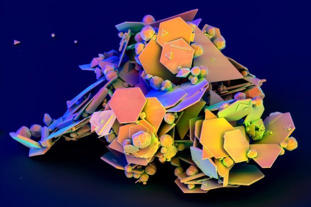 Monocrystalline gold flakes, winning SEM image by Bjoern Hoffmann, Max Planck Institute for Science of Light, Erlangen, Germany