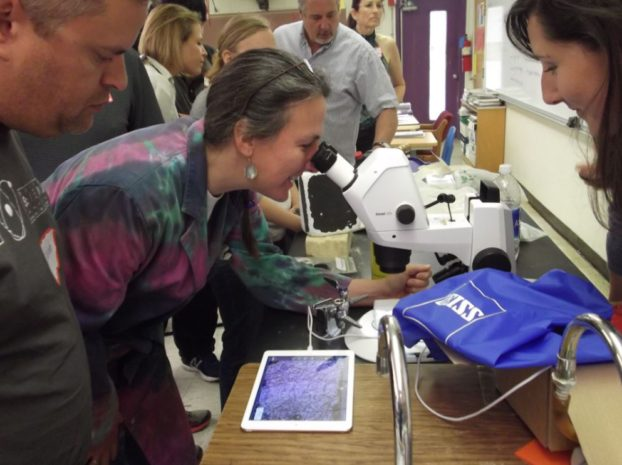 Stemi 305 stereo microscope with integrated wireless camera at the 2016 ASM Teachers' Camp