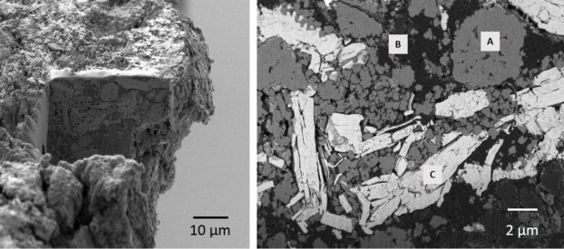 18650 Lithium ion battery. Site of interest, cross-section prepared with the FIB, SEM overview image showing topography (right)