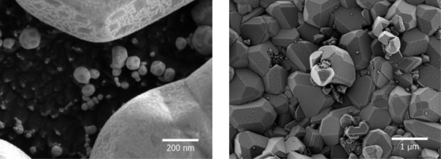 GeminiSEM tandem decel with gold (Au) on carbon (left) and Fe2O3/ZrO2 particles (right).
