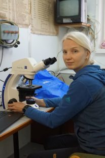 Olga Kalinina, Biology Researcher, Oceanology Institute, RAS, on board the Akademik Fyodorov with ZEISS Primo Star HD.