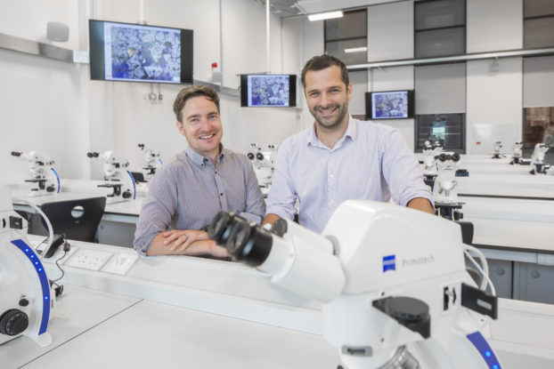 Dr Cameron Pleydell-Pearce and Dr Richard Johnston at the AIM's ZEISS Digital Classroom