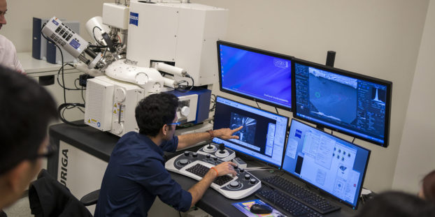 Researchers, stakeholders and partners view a demonstration of new equipment in the Center for 4D Materials Science, or 4DMS, to gain an understanding of the center's new capabilities for materials science research. Courtesy of Marco-Alexis Chaira/ASU